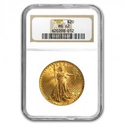 $20 Saint-Gaudens Gold Double Eagle NGC MS-62 (Random Year) .9 fine bullion